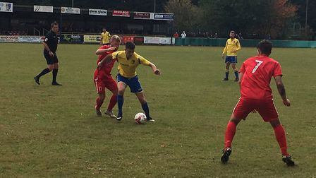 Norwich United's Danny Beaumont in possession during this afternoon's Thurlow Nunn Premier clash aga