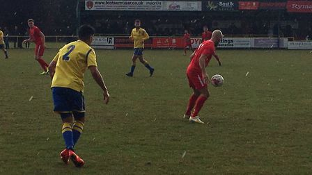 Matt Blake, on the ball during his Stowmarket Town debut at Plantation Park. Picture: CARL MARSTON