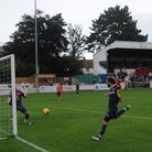 Joe Marsden fires home for Needham Market in their 1-0 win at Bromsgrove Sporting on Saturday. Pictu