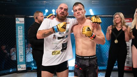 Scott Butters, left, and Richard Mearns after their fight at Contenders 27. Mearns won by armbar sub