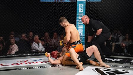 Josh Leet busts open Ivan Golod's face with elbows from mount. Picture: BRETT KING