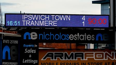 The scorboard at Portman Road at 90 minutes on Saturday afternoon. Picture: Steve Waller www.s