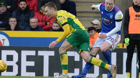 Fredie Sears injured his knee in this first half collision at Norwich in February. Picture: Pagepix