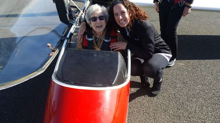 Carer Emily Hill with Olwyn Hopkins, who celebrated her 100th birthday with a flight in a glider pla