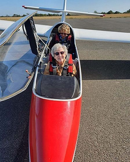 Pilot Liz Russell (back) and Olwyn Hopkins getting ready for take off, as Mrs Hopkins celebrated her