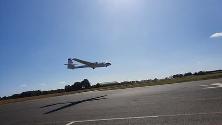 Pilot Liz Russell and Olwyn Hopkins taking off, as Mrs Hopkins celebrated her 100th birthday with a