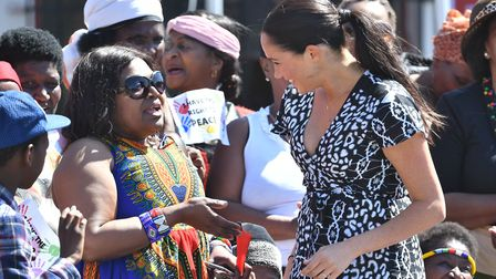 The Duchess of Sussex as she arrives at the Nyanga Township in Cape Town, South Africa, wearing an A