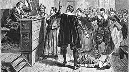 A 1876 illustration of the courtroom during the Salem Witch Trials.