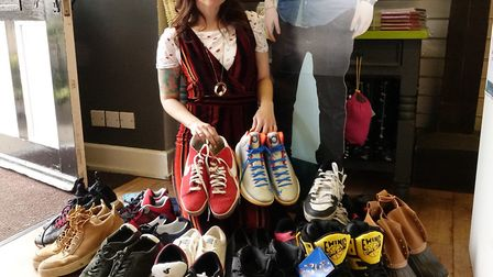 A range of shoes from Air Jordan's to Converse's and flip flops are included in Ed's collection Pict