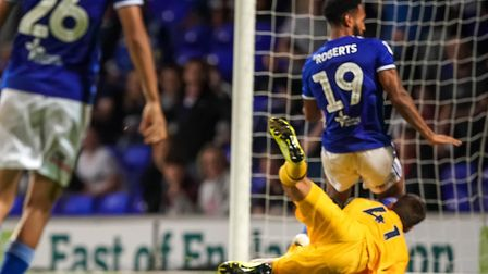 Jordan Roberts scores his first in the Ipswich Town v Tottenham Hotspur U21's. Picture: Steve Wal