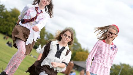 Farlingaye students walked through Woodbridge in fancy dress for their annual walk Picture: SARAH