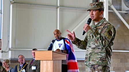 Colonel Troy Pananon, commander of the 100th Air Refueling Wing, speaks at the opening ceremony at R