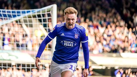 Jon Nolan celebrates his goal in the 4-1 victory over Tranmere Rovers. Picture: Steve Waller w