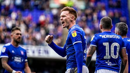A fist pump towards fans from Jon Nolan the Ipswich Town fans after his goal to give the home side a