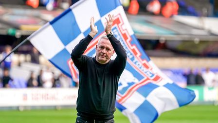 Paul Lambert is a Blue: The Town manager applauds fans after his sides 4-1 victory on Saturday. P