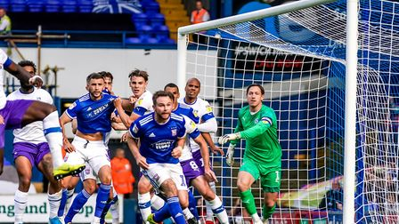 All eyes on the ball for a Town corner in the first half of the Ipswich Town v Tranmere Rovers (Sky