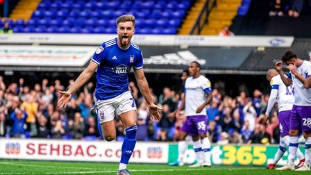 Luke Garbutt wheels away after giving Town a 1-0 lead in the Ipswich Town v Tranmere Rovers (Sky Bet