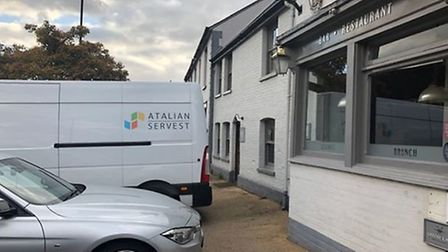 Atalian Servest were seen clearing out the Swan in Long Melford Picture: INSIDESUFFOLK.COM
