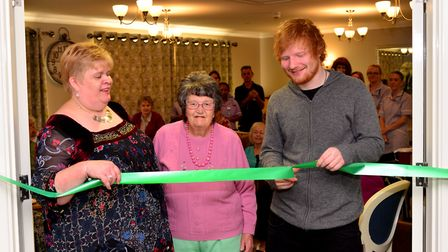Ed Sheeran opens the new Sheeran Suite at Mills Meadow Care Home in Framlingham with then care home