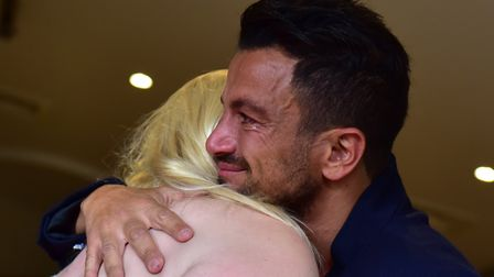 Zoe Goddard meeting her idol Peter Andre at the St Elizaeth Hospice before her death in 2017. Pictur
