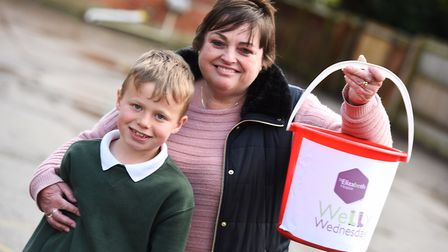 Zoe's mum Wendy fund raising at Stowupland Primary School in 2017. Left to right, Alfie and Wendy Go