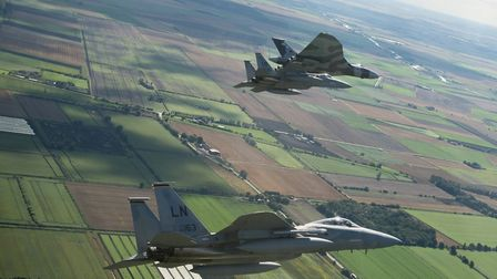 Captured from the cockpit of an F-15 by Senior Airman Trevor McBride, these pictures show two RAF La