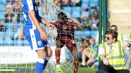 Kane Vincent Young celebrates heading Ipswich in front at Gillingham. Photo: Pagepix