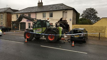 The scene of the ram raid at McColl's in Long Melford Picture: PAUL GEATER
