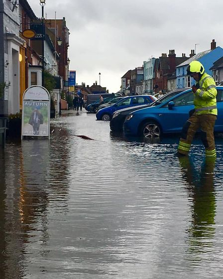 Suffolk Fire and Rescue were called to the flooding in Aldeburgh High Street Picture: JAYNE DALE