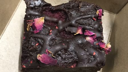 The Hullabaloo vegan brownie - in a recyclable takeaway box, of course