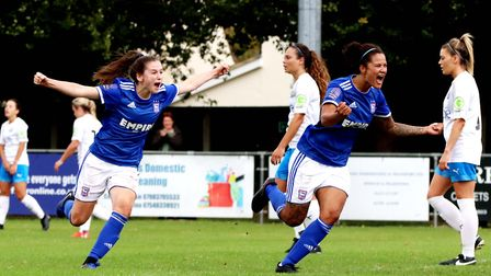 Eloise King and Natasha Thomas celebrate the opening goal against Billericay Picture: ROSS HALLS