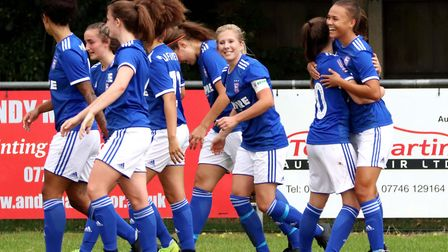 Town Women players celebrate Paige Peake's goal against Billericay Picture: ROSS HALLS