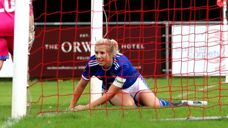 Amanda Crump after missing a chance in the 2-1 win against Billericay Picture: ROSS HALLS
