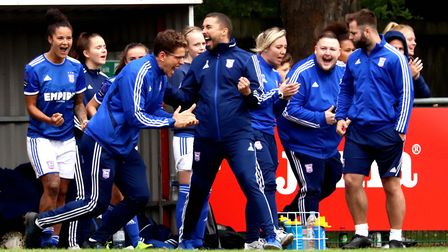 Ipswich Town Women's bench after the final whistle Picture: ROSS HALLS