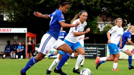 Natasha Thomas in action during Town Women's 2-1 win over Billericay Picture: ROSS HALLS