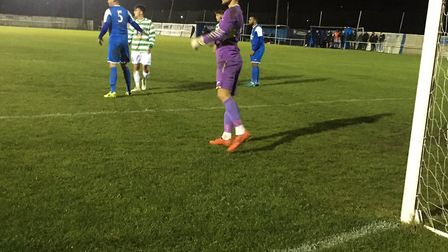 Ipswich Wanderers keeper, Craig Brand, who was kept on his toes in the first half and then sent off