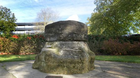 The Plague Stone on Risbygate Street, from a legend that when smallpox was raging in Bury in 1677, t