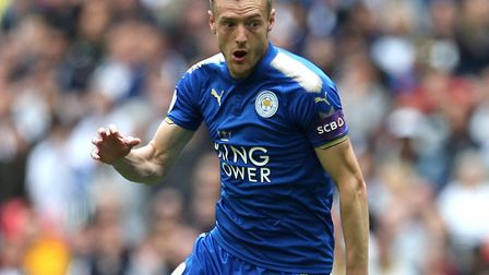 England striker Jamie Vardy, in the colours of his current club, Leicester City, but who was playing