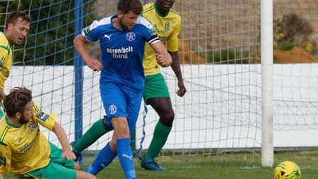 Tom Bullard pictued in action for Leiston FC had more than �2,500 tools stolen from his work van Pho