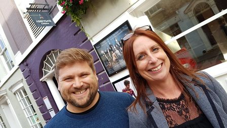 Project manager Chris Peters with Marketing manager Andrea Holmes outside the Abbeygate Cinema Pict