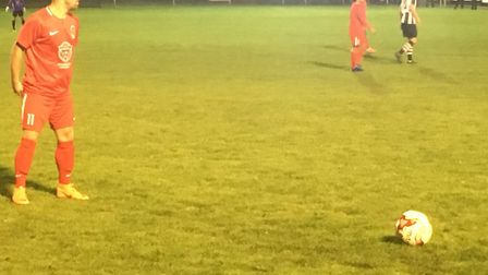 Stowmarket's Dave Cowley prepares to deliver a free-kick into the danger zone. Picture: CARL MARSTON