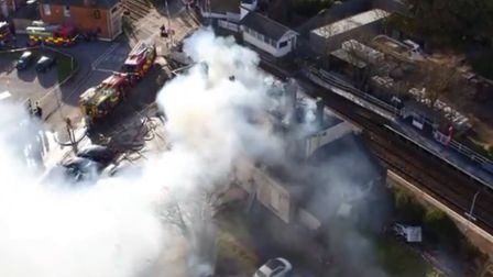 Drone footage of the 2018 Saxmundham railway station fire. Picture: SKYMANIX