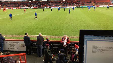 The view from the press box at Stevenage's Broadhall Way, taken by columnist Carl Marston on New Yea