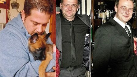 From L-R: Richard Booth and brothers Danny Gibson and Jason Gibson who were all killed in Colchester