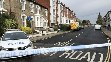 A section of Wellesley Road in Colchester, Essex is cordoned off by police investigating the deaths