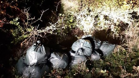 Rubbish which had been fly-tipped in Stonebridge Lane, Stowupland. Picture: BABERGH AND MID SUFFOLK