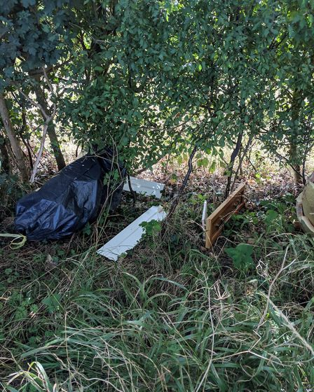 Rubbish which had been fly-tipped in Drakestone Green, Semer. Picture: BABERGH AND MID SUFFOLK DISTR