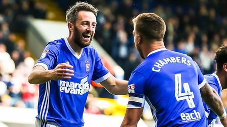 Cole Skuse is congratulated by skipper Luke Chambers after scoring a rare goal in 2017. Photo: Steve