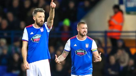 Cole Skuse and Luke Chambers show their frustrations during Ipswich Town's relegation season. Photo: