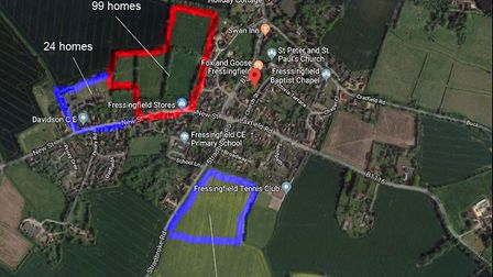 Three outlines of planning applications for new homes in Fressingfield, which were all denied Pictur